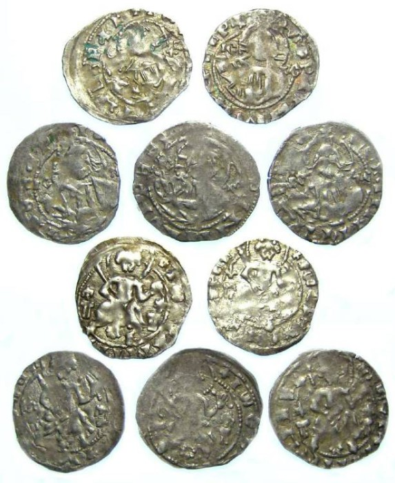 Ancient Coins - Bulgaria. Ivan Stracimir. AD 1358 to 1396. Silver Grosh.  Dealer lot of 5 coins.