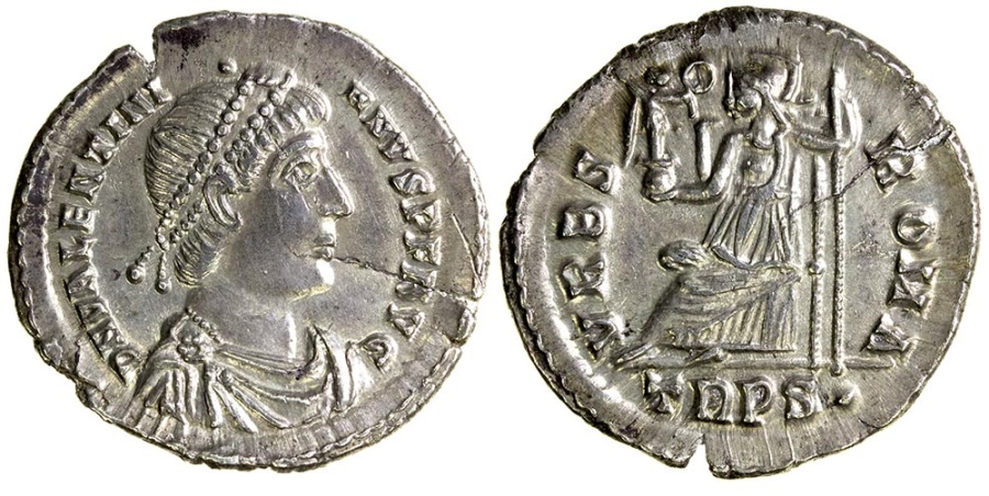 Ancient Coins - Valentinian I, AD 364 to 375. Silver Siliqua.
