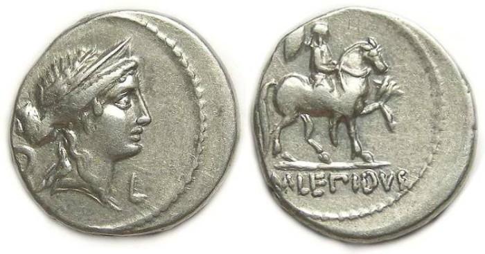 Ancient Coins - Roman Republic. M. Aemilius Lepidus.  61 BC. Silver denarius.