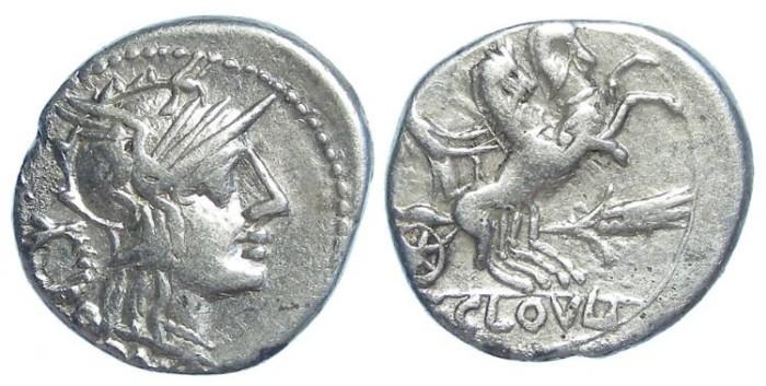 Ancient Coins - Roman Republic. T. Cloelius,  ca.128  BC. AR denarius.