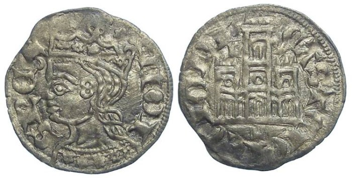 Ancient Coins - Spain, Castile & Leon. Alfonso XI, AD 1312 to 1350. Billon Coronado Noven