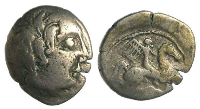 Ancient Coins - Armorican to Western Gaul, The Pictones. ca. 80 to 60 BC. Silver Drachm.