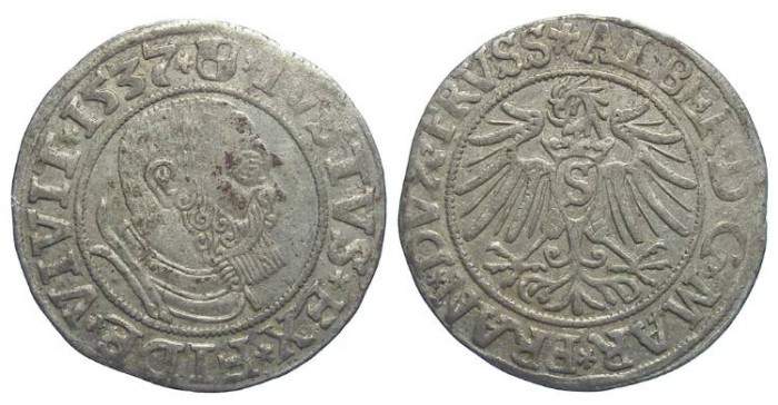 Ancient Coins - Germany, Prussia. Albert, AD 1535 to 1569.  Silver Groschen. Dated 1537.