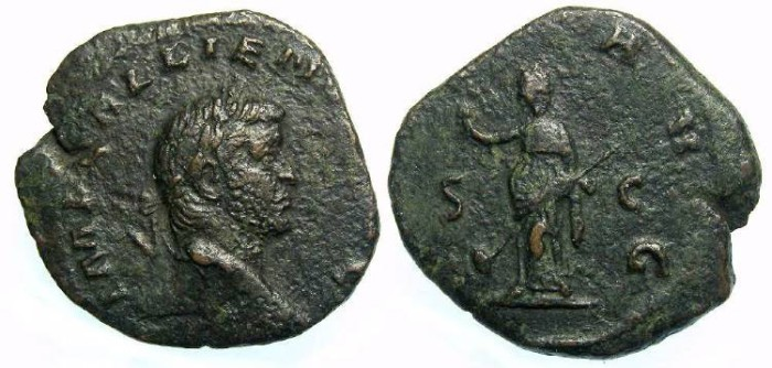 Ancient Coins - Gallienus, AD 253-268. Bronze sestertius.