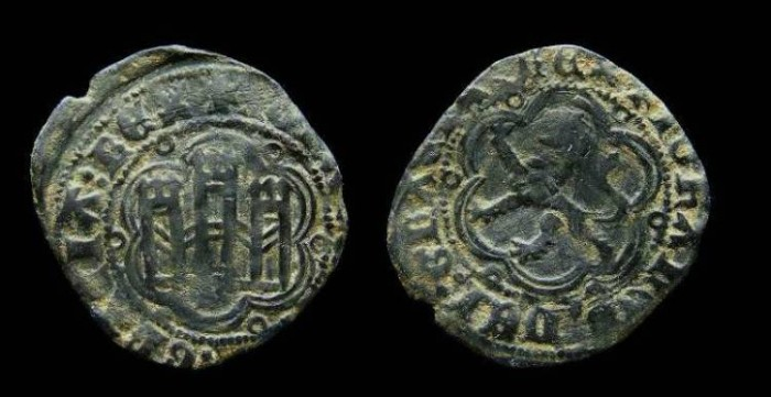 Ancient Coins - Spain, Castile & Leon. Juan II, AD 1406 to 1454.  AE 23.