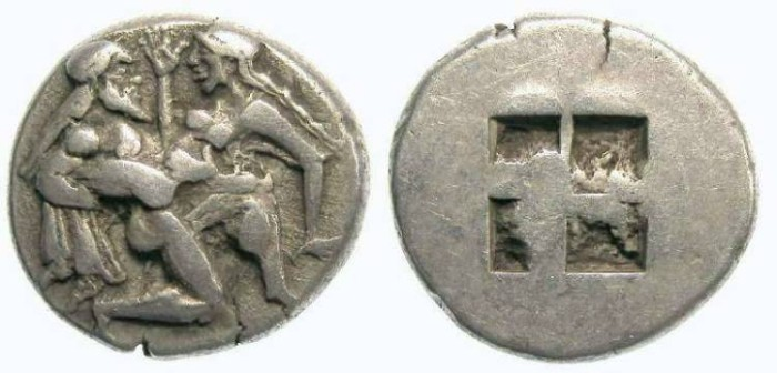 Ancient Coins - Thasos in Thrace. 463 to 411 BC. Silver stater.