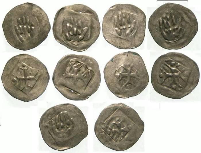 Ancient Coins - German, City of Hall. Anonymous 14th to 15th century. Silver hand Heller. DEALER LOT OF 5 COINS.