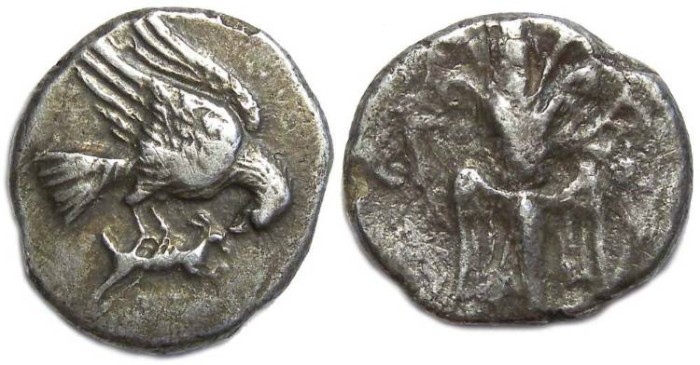 Ancient Coins - Elis. Silver Drachm, ca. 245 to 210 BC.