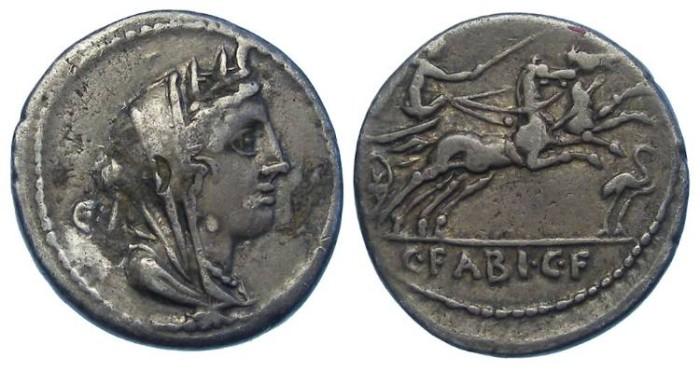 Ancient Coins - Roman Republic. C. Fabius C.F Hadrianus.  102 BC.  Silver denarius.