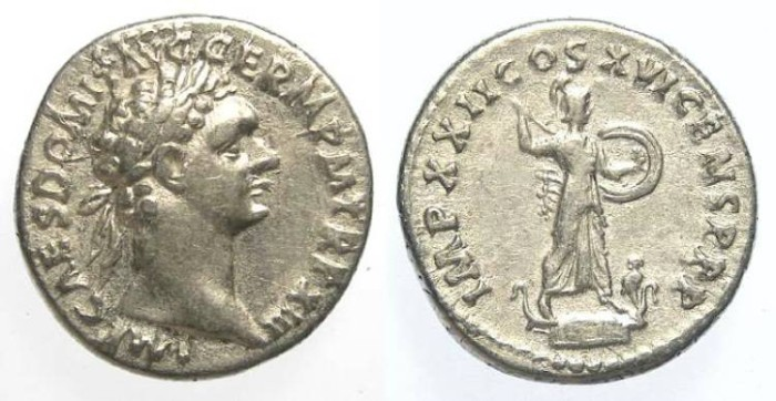 Ancient Coins - Domitian, AD 81 to 96, AR denarius.
