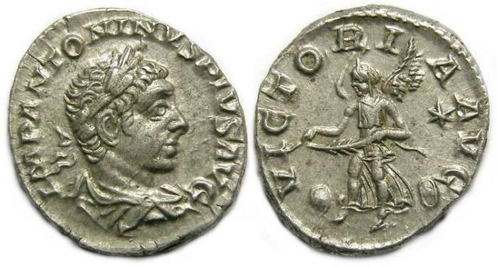 Ancient Coins - Elagabalus, AD 218 to 222. Silver Denarius