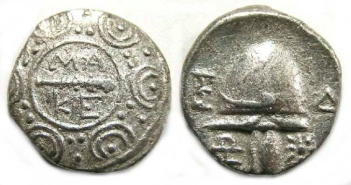 Ancient Coins - Macedonian Cities, Amphipolis.  Silver tetrobol.