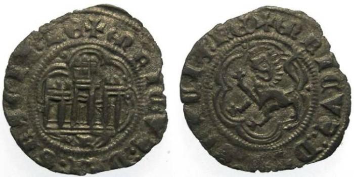Ancient Coins - Spain, Castile & Leon. Henry III.  AD 1390 to 1406. Billon Blanca