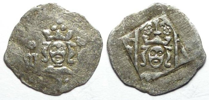 Ancient Coins - Germany, Pfalz-Oberpfalz New Bohemia.  Wenzel II, AD 1378 to 1419.  Silver pfennig.