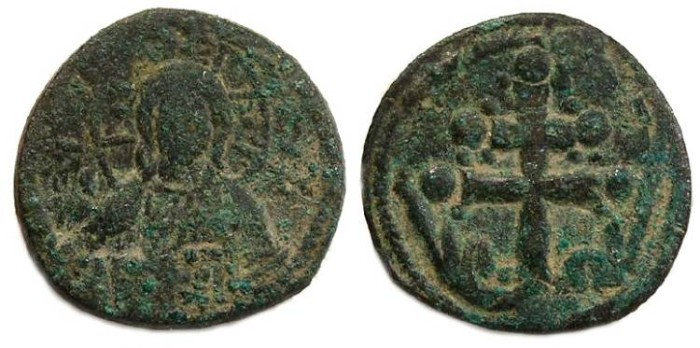 Ancient Coins - Byzantine. Anonymous follis struck under Michael VII, AD 1071 to 1078.