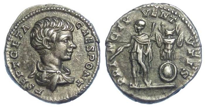 Ancient Coins - Geta as Caesar, AD 198 to 209, Silver denarius.