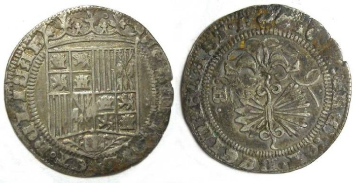 Ancient Coins - Spain, Ferdinand and Isabella, AD 1474 to 1504, 1 real