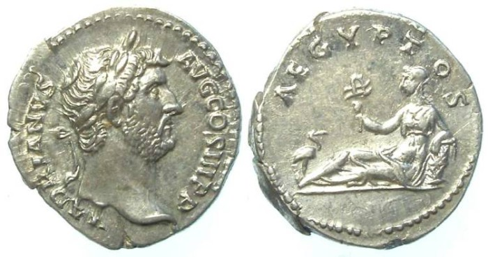 Ancient Coins - Hadrian, AD 117 to 138, AR denarius. Travel series.