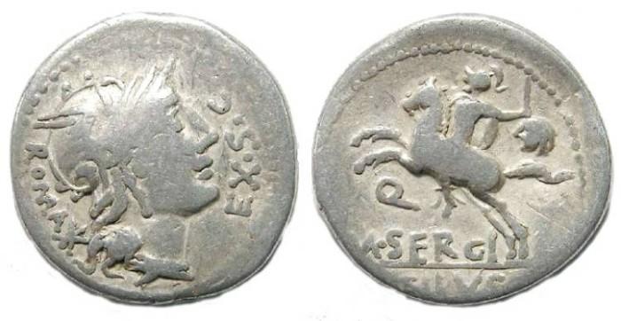Ancient Coins - Roman Republic. M. Sergius Silus. ca. 116/115 BC. Silver denarius
