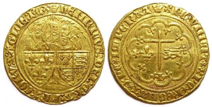 Ancient Coins - Anglo-Gallic. Henry VI, AD 1422 to 1453. Gold Salut d'or.