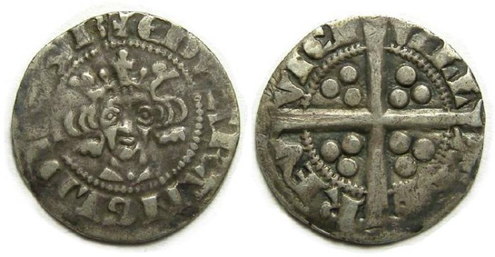 Ancient Coins - English, Edward I or II, AD 1300 to 1310. Silver penny.  Berwick-on Tweed.
