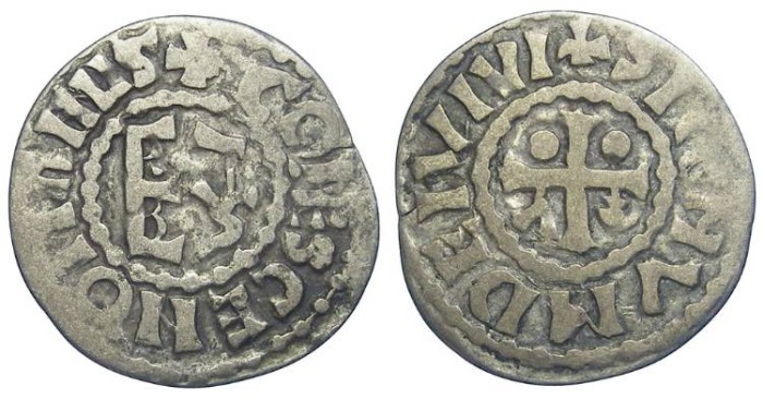 Ancient Coins - France Feudal. Maine. Anonymous Counts. AD 1030 to 1246. Silver denier.