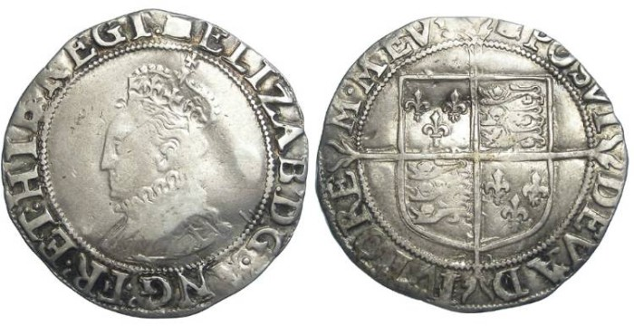 Ancient Coins - English, Elizabeth I, Silver shilling. Undated (ca. AD 1594 to 1596).