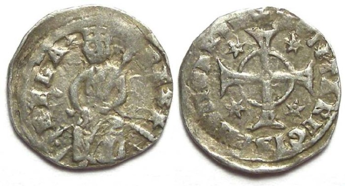 Ancient Coins - Hungary. Bela IV, AD 1235 to 1270. Silver Denar.