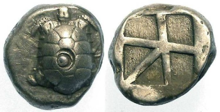 Ancient Coins - Aegina. Silver stater. ca. 445 to 431 BC.