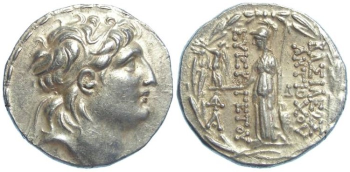 Ancient Coins - Cappadocian Kingdom. In the name of the Seleukid King Antiochos VII, 138 to 129 BC, but struck later. Silver tetradrachm