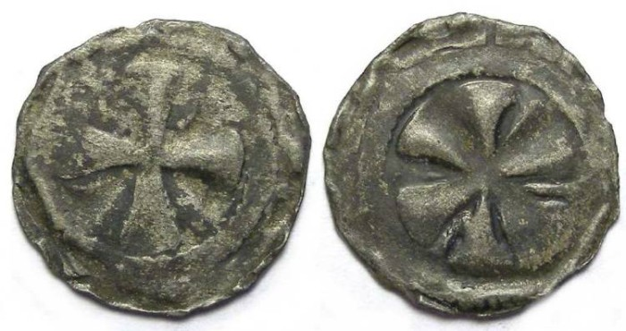 Ancient Coins - French Feudal. Le Puy Bishopric.  Anonymous denier.  13th century AD.