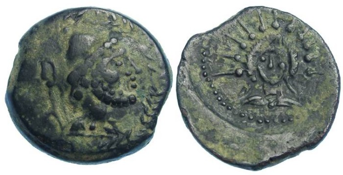 Ancient Coins - Celtic Malaca in the Ulterior Province of Spain.  2 nd to 1 st century BC.