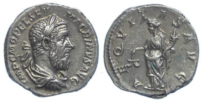 Ancient Coins - Macrinus, AD 217 to 218.   Silver denarius.