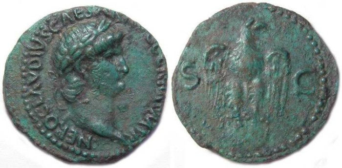 Ancient Coins - Nero, AD 54 to 68. Copper As from Perinthus mint.  RARE TYPE.