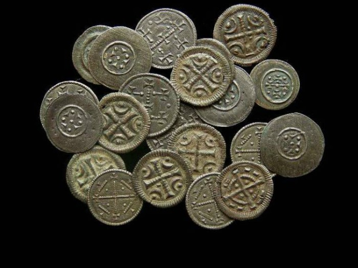 Ancient Coins - Hungary, Anonymous Billon Denars of the 12th to 13th Century.  Assorted types.