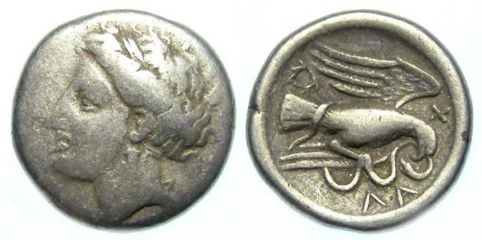 Ancient Coins - Chalkis in Euboia, Silver drachm. 340-294 BC.  Unusual variety.