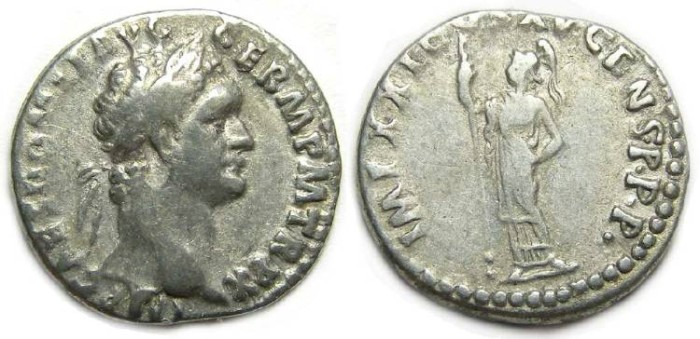 Ancient Coins - Domitian, AD 81 to 96. Silver denarius.