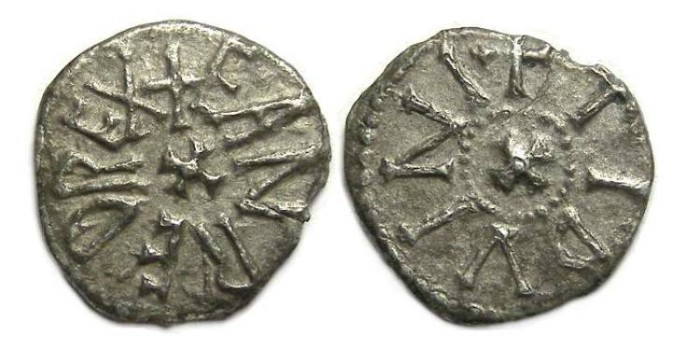 Ancient Coins - English. Kingdom of Northumbria.  Eanred, AD 810 to 841.  Base silver stycas.