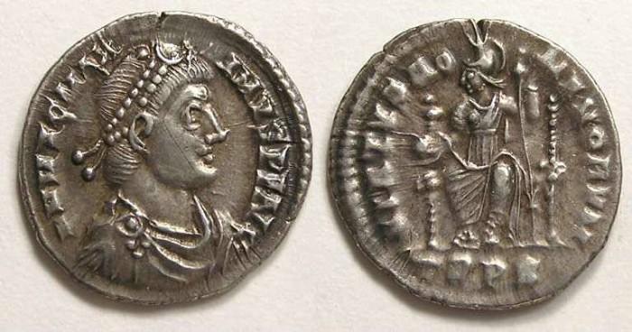 Ancient Coins - Magnus Maximus. AD 383 to 388. Silver siliqua