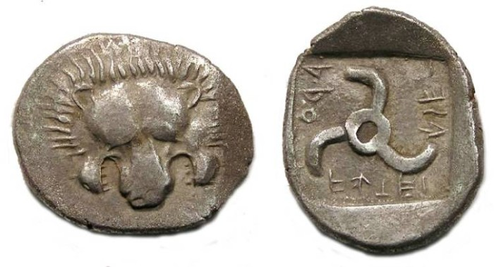 Ancient Coins - Lycian Dynasts, ARUVATIJESI, 4th Century BC. Silver Tetrobol
