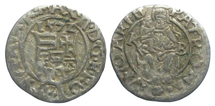 Ancient Coins - Hungary, Maximilian II, AD 1563 to 1576.  Silver denar.  Dated 1572.