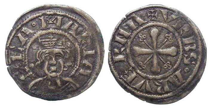 Ancient Coins - Frence Feudal. Clermont.  Anonymous Bishops. 13th century AD.  Silver denier.