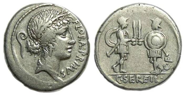 Ancient Coins - Roman Republic. C. Servilius.  ca. 57 BC. Silver denarius. Personification of FLORA.