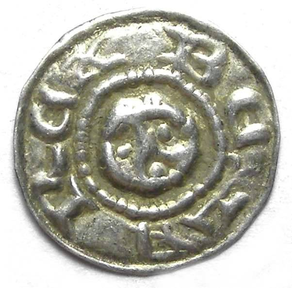 Ancient Coins - Hungary.  Bela III, AD 1172 to 1196 or Bela IV, AD 1235 to 1270.  Silver Bracteate Denar.