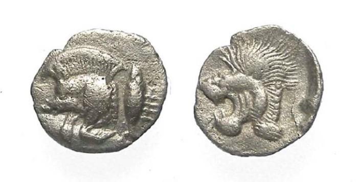 Ancient Coins - Kyzikos in Mysia. ca. 480 to 450 BC.  Silver hemiobol.