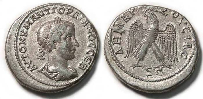 Ancient Coins - Gordian III, AD 238 to 244. Billon tetradrachm, Antioch