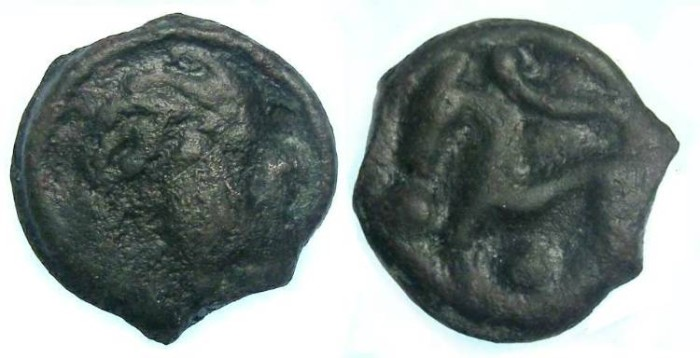 Ancient Coins - Celtic, Gaul. Senones Tribe. ca. 150 to 50 BC.