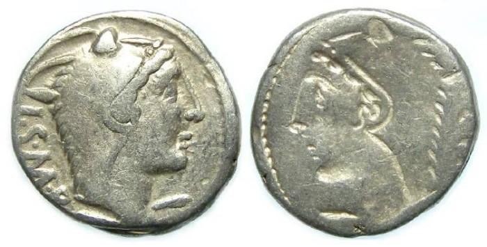Ancient Coins - L. Thorius Balbus. ca. 105 BC. Silver denarius.  BROCKAGE ERROR.