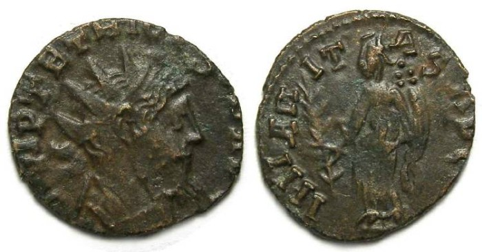 Ancient Coins - Barbarous imitative of a Tetricus, AD 270 to 273. Bronze Antoninianus