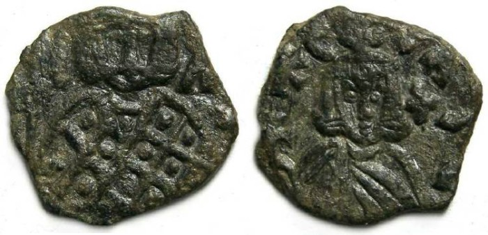 Ancient Coins - Leo V (the Armenian) and Constantine, AD 813 to 820. AE follis.
